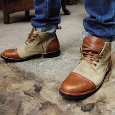mens lace up biker boots estate men u0027s peanut tan leather canvas mid cut ankle boots a1516