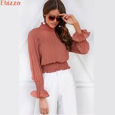elastic waist blouse ebizza turtleneck chiffon blouse elastic waist petal