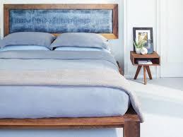 mid century modern master bedroom natural color walnut king size