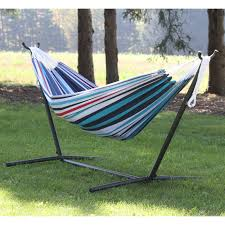 Free Standing Hammock Vivere Double Fabric Double Hammock With Steel Stand Hayneedle