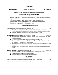 sample construction laborer resume construction worker resume