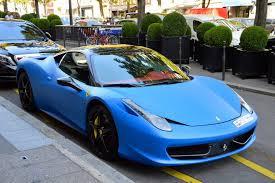 Ferrari 458 Blue - matte blue and yellow ferrari 458 italia duo in paris gtspirit