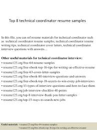 Supply Chain Coordinator Resume Sample Top 8 Technical Coordinator Resume Samples 1 638 Jpg Cb U003d1428136921