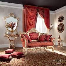 Classic Furniture Design New Baroque Design Sofa Fabric 2 Seater Red Casanova