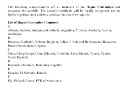 the apostille certificate will be legally recognized for hague conven u2026