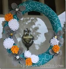 felt flower wreath for summer sweet pea