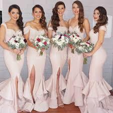 bridesmaid dress shops shop discount mermaid ruffles the shoulder front split