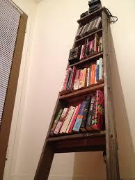 classic barn wood ladder shelf for book storage added neutral