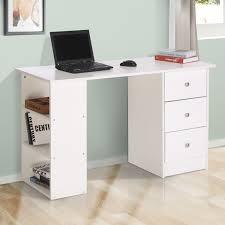 bureau informatique 120 cm homcom bureau informatique table informatique 3 tiroirs 2 etagères