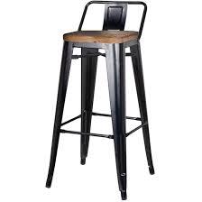 metropolis low back bar stool wood seat black set of 4 bar
