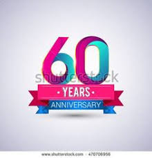 60 years anniversary celebrating 60 years anniversary logo with silver ring and blue