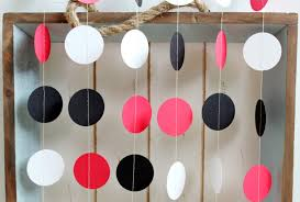 Black And Red Party Decorations Red White And Black 12 Ft Circle Paper Garland Wedding