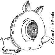 vector clipart of cute sketch doodle rhino vector art csp13210008