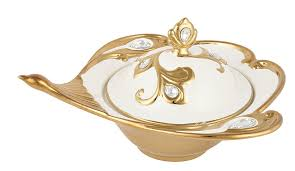 aura diwali gift box ideas gold and pearl bone china decorative