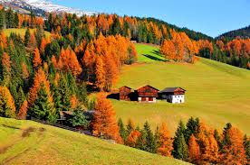 Beautiful Mountain Houses by Mountain Mountain Houses Autumn Colorful Hills Grass Slope Lovly