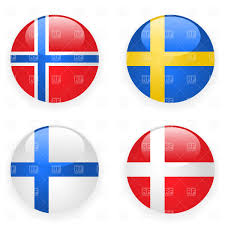 Flag Sweden Denmark Finland Norway And Sweden Button Flags Royalty Free