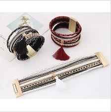 leather bracelet cuff women images Red boho pu leather bracelets women magnetic tassel cuff bracelets png