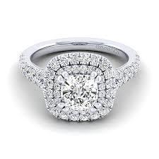Cushion Cut Halo Diamond Engagement Ring In Platinum Sequoia 14k White Gold Cushion Cut Double Halo Engagement Ring