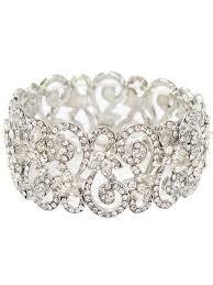 silver rhinestone bracelet images Rhinestone crystal filigree swirl stretch bracelet blue velvet jpg
