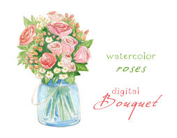 wedding flowers clipart digital clipart watercolor flowers bouquet wedding