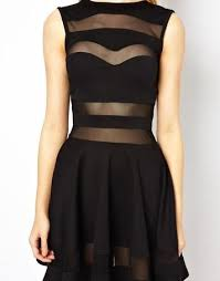 black dress with sweetheart neckline see through chest and neck