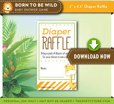 Jungle Theme Invitation Card Safari Baby Shower Diaper Raffle Ticket Orange Green