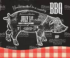 chalkboard style country pork bbq invitation design template stock