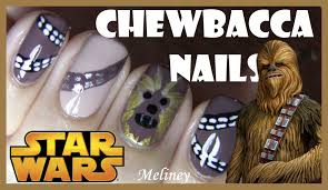 star wars chewbacca nails free hand nail art design for