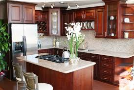 kitchen ideas cherry cabinets kitchen cherry cabinets with white granite countertops blue gray
