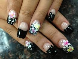 3d flowers on black french tips nail art gallery