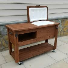 Patio Cooler Table Rustic Wooden Cooler Table Bar Cart Wine Bar With Mini Fridge