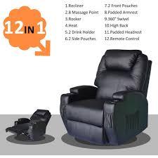 homcom pu leather rocking sofa chair recliner homcom heated vibrating pu leather massage lounge seat recliner tv