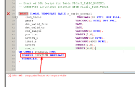 Create Temporary Table Segment Creation Immediate On A Global Temporary Table Sql