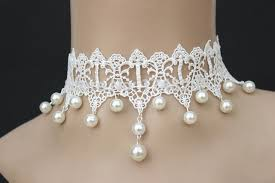 bridal choker necklace images Summer style white drop pearl lace choker necklace bridal wedding jpg