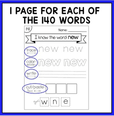 education reading practice worksheets for pci level 2 sight words