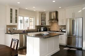 White Kitchen Cabinets With Marble Countertops Grey Granite Countertops Staimless Steel Handles White Kitchen