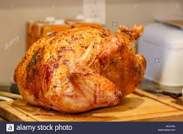 thanksgiving turkey cooked and ready to eat stock photo royalty