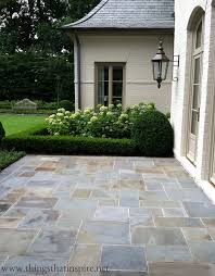 Flagstone Patio On Concrete by Easy Diy Patio Ideas Boxwood Hedge Stone Patios And Hydrangea