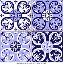 mexican tiles pattern vector blue white stock vector 613690970
