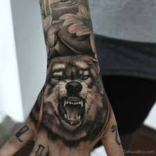 roaring wolf on and arm