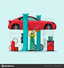 car repair station vector illustration mechanic man repairing