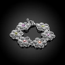 flower silver bracelet images Flower hollow silver bracelet co jpg