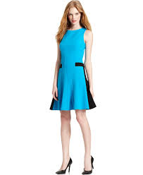 calvin klein dress sleeveless seamed colorblocked a line
