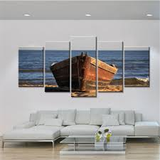 home decor wall posters 5 panel wooden boat canvas painting sea landscape home decor wall