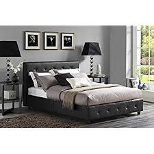 amazon com dhp dakota platform bed with tufted upholstery in faux