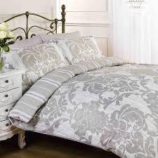 elysee natural grey flowers patterned duvet cover quilt bedding