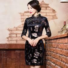 2017 shanghai story velvet cheongsam vintage qipao traditional