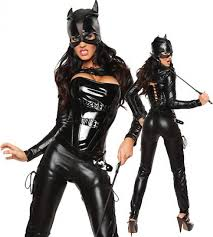 womens masked faux leather cat costume black