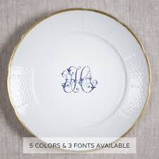 monogrammed plate nicholas weave 24k gold rimmed dinner plate 10 25 with