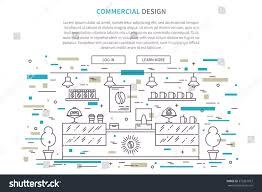 commercial interior design landing page linear stock vector